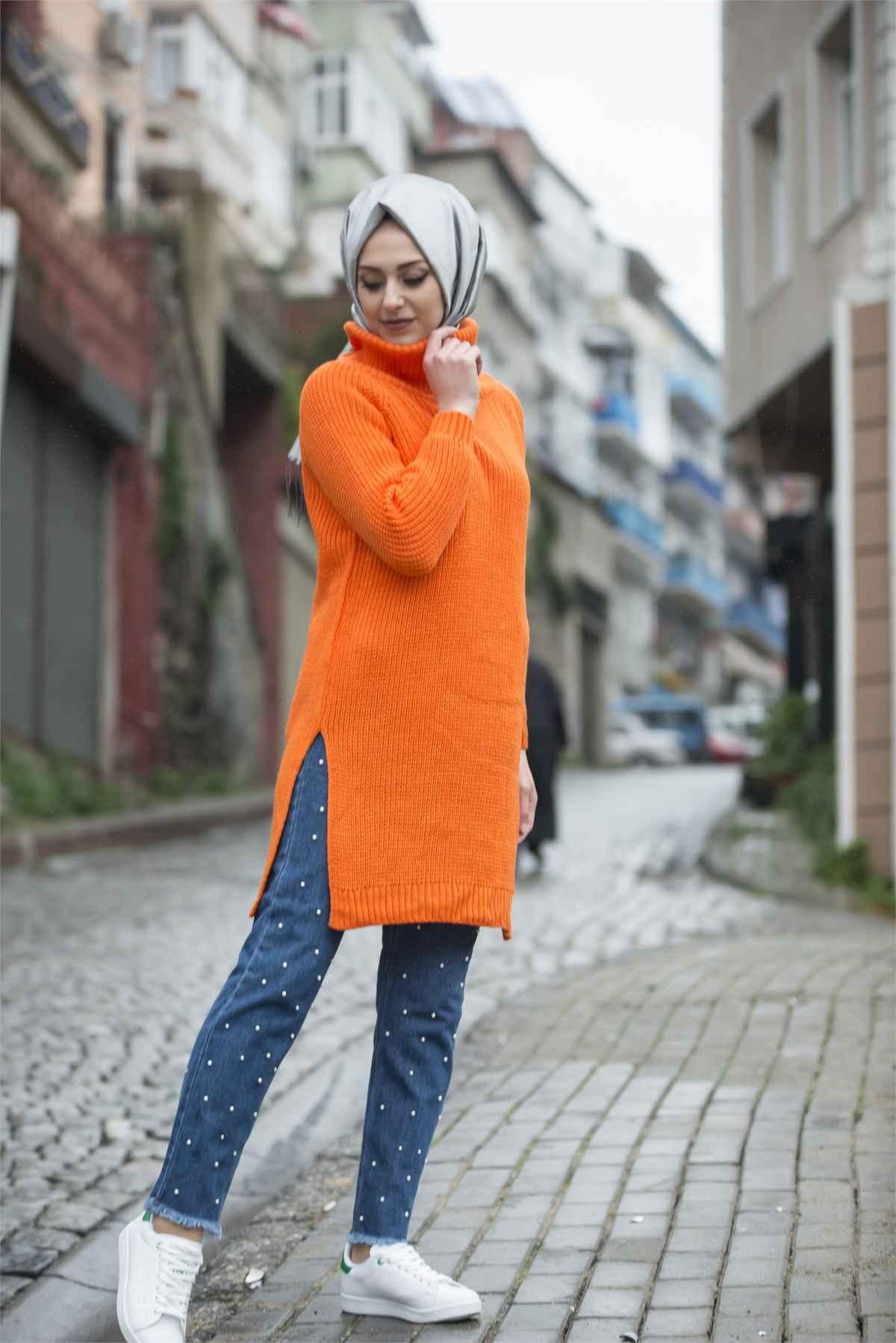 Tesettür Boğazlı Triko Kazak Modelleri