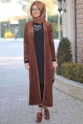 Tesettür Kadife Uzun Ceket Modelleri