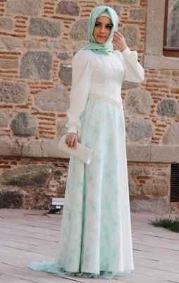 Tesettür Mavi Renk Abiye Elbise Modelleri