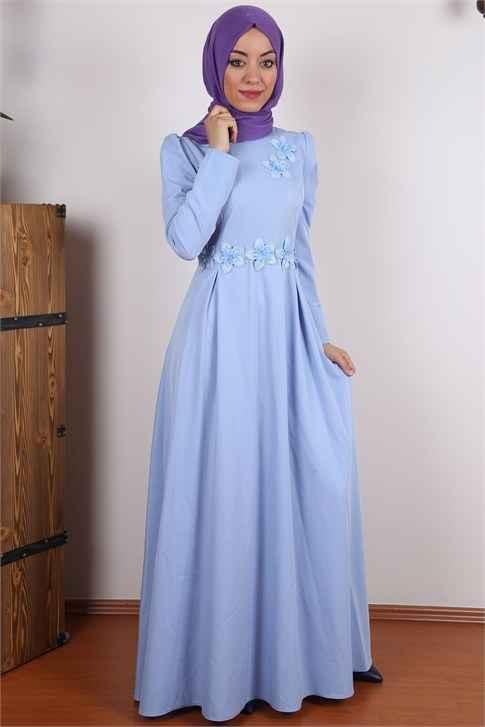Tesettür Mavi Renk Elbise Modelleri