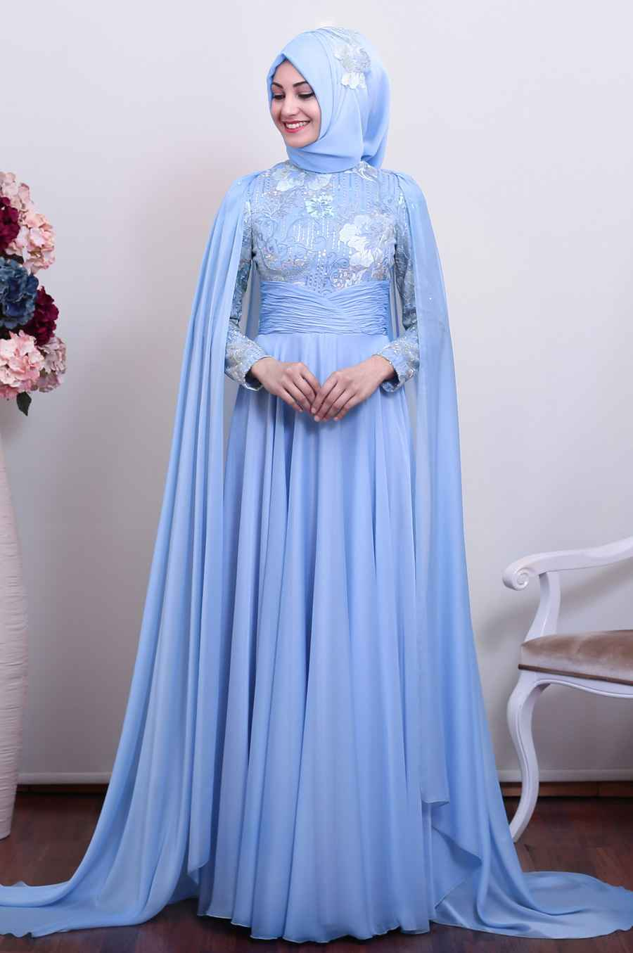 Tesettür Mavi Renk Modası Abiye Modelleri