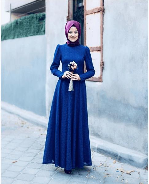 Tesettür Mavi Renk Modası
