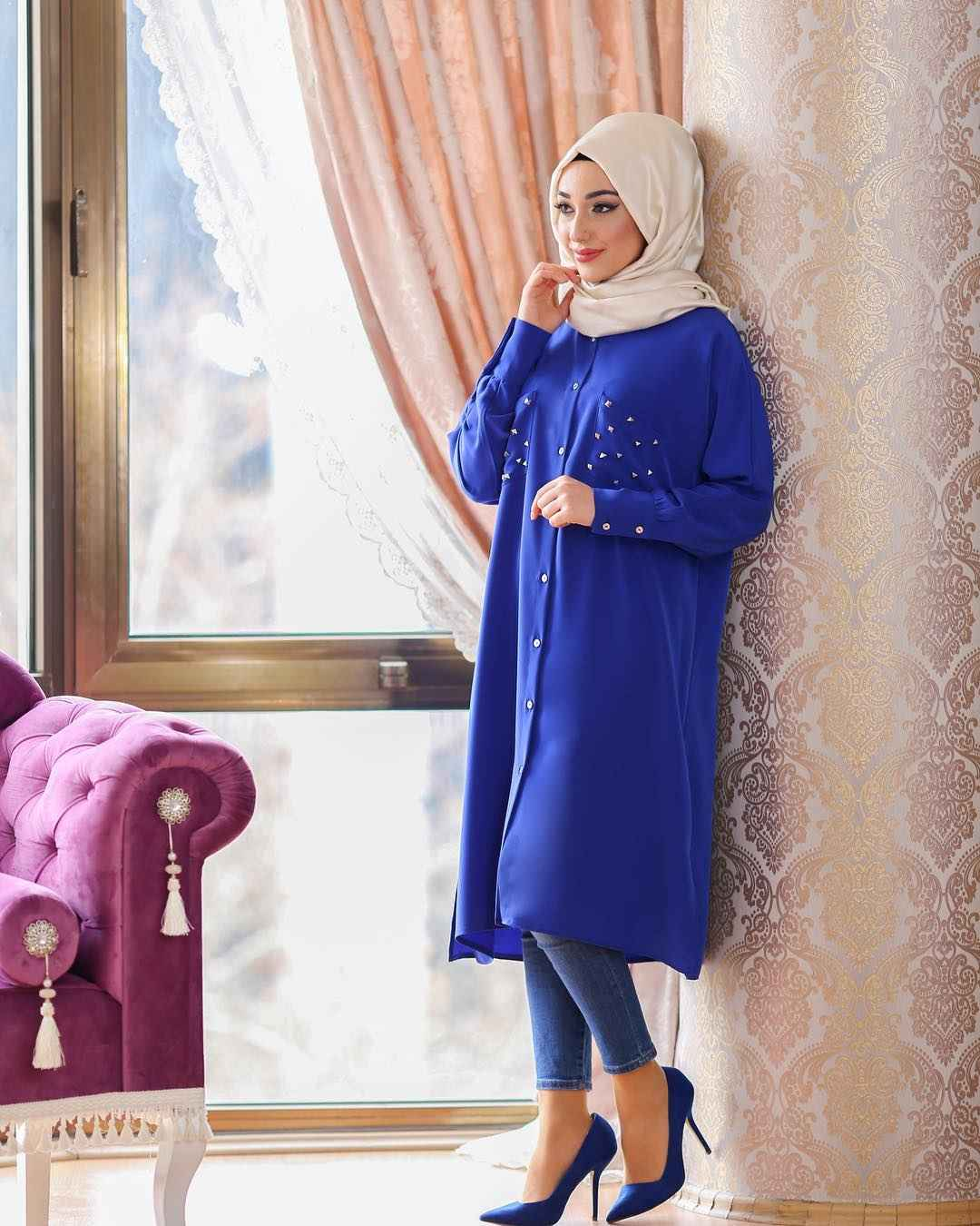 Tesettür Mavi Renk Tunik Modelleri