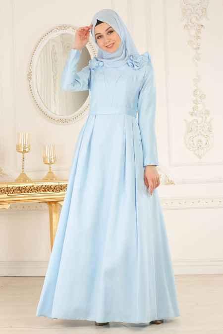 Tuay Tesettür Büzgülü Abiye Elbise Modelleri