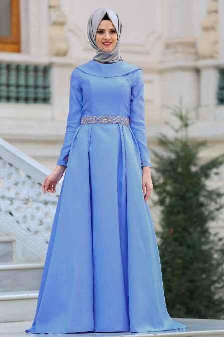 Tuay Tesettür Mavi Renk Abiye Modelleri