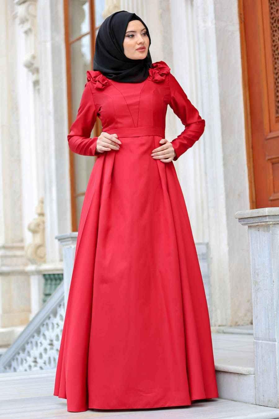 Tuay Tesettür Omuz Büzgülü Abiye Elbise Modelleri