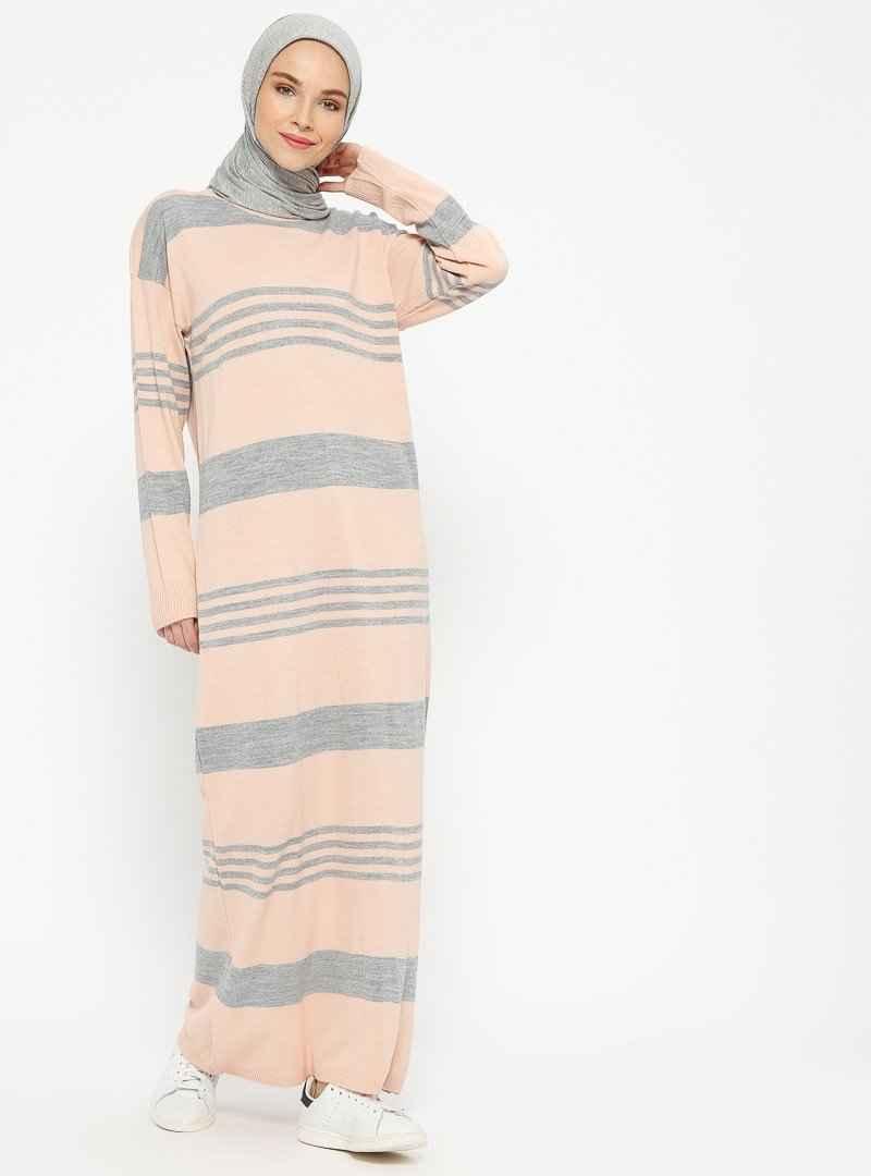 Veteks Line Tesettür Yün Elbise Modelleri