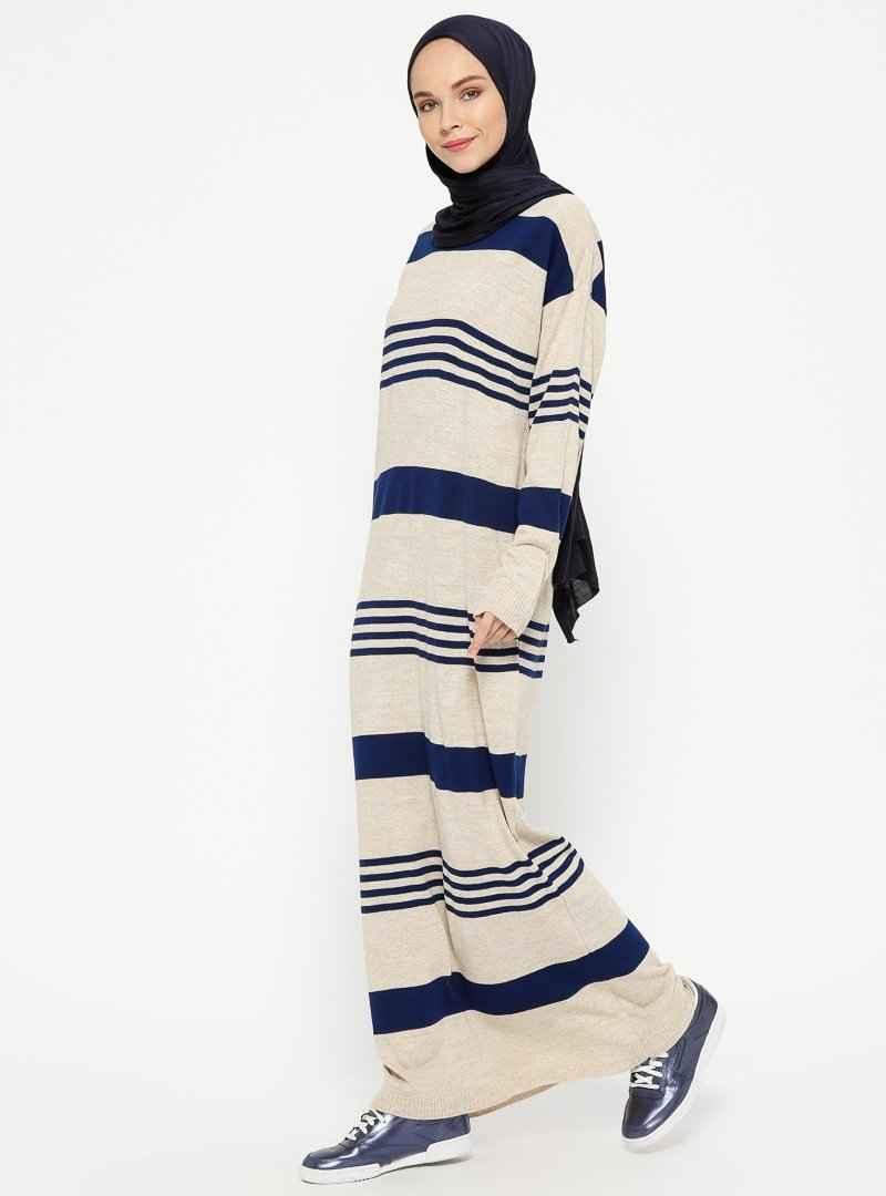 Veteks Line Tesettür Yünlü Elbise Modelleri
