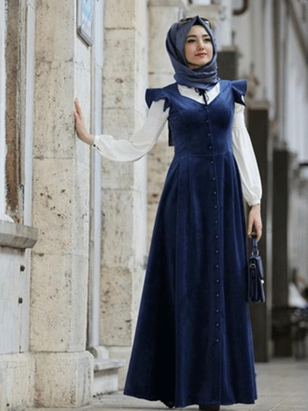Vintage Tesettür Kadife Elbise Modelleri