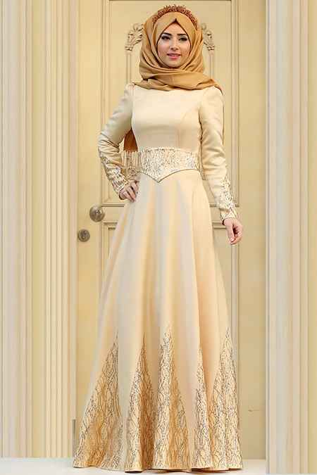 Zehrace Tesettür Gold Rengi Abiye Elbise Modelleri