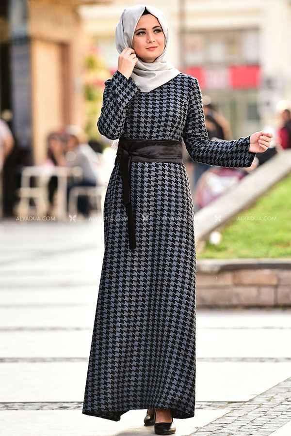 Alyadua Tesettür Kazayağı Desenli Elbise Modelleri