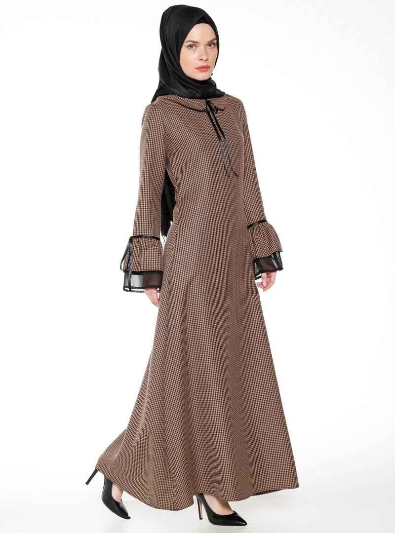 Bürün Vizon Tesettür Kazayağı Desenli Elbise Modelleri