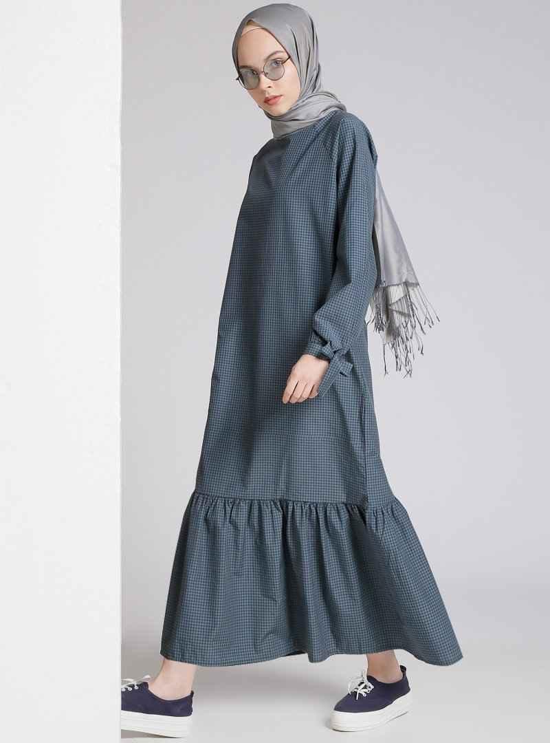 Benin Tesettür Ekose Elbise Modelleri