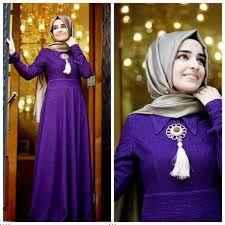 Broşlu Tesettür Abiye Elbise Modelleri