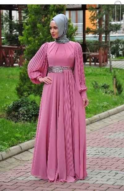 Dökümlü Tesettür Abiye Elbise Modelleri