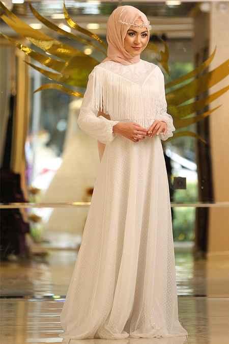 En Şık Minel Aşk Tesettür Püsküllü Abiye Elbise Modelleri