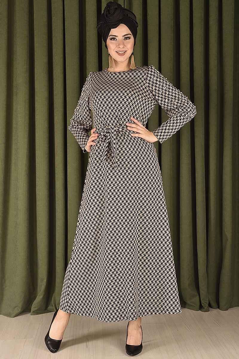 En Şık Modamerve Tesettür Kazayağı Desenli Elbise Modelleri
