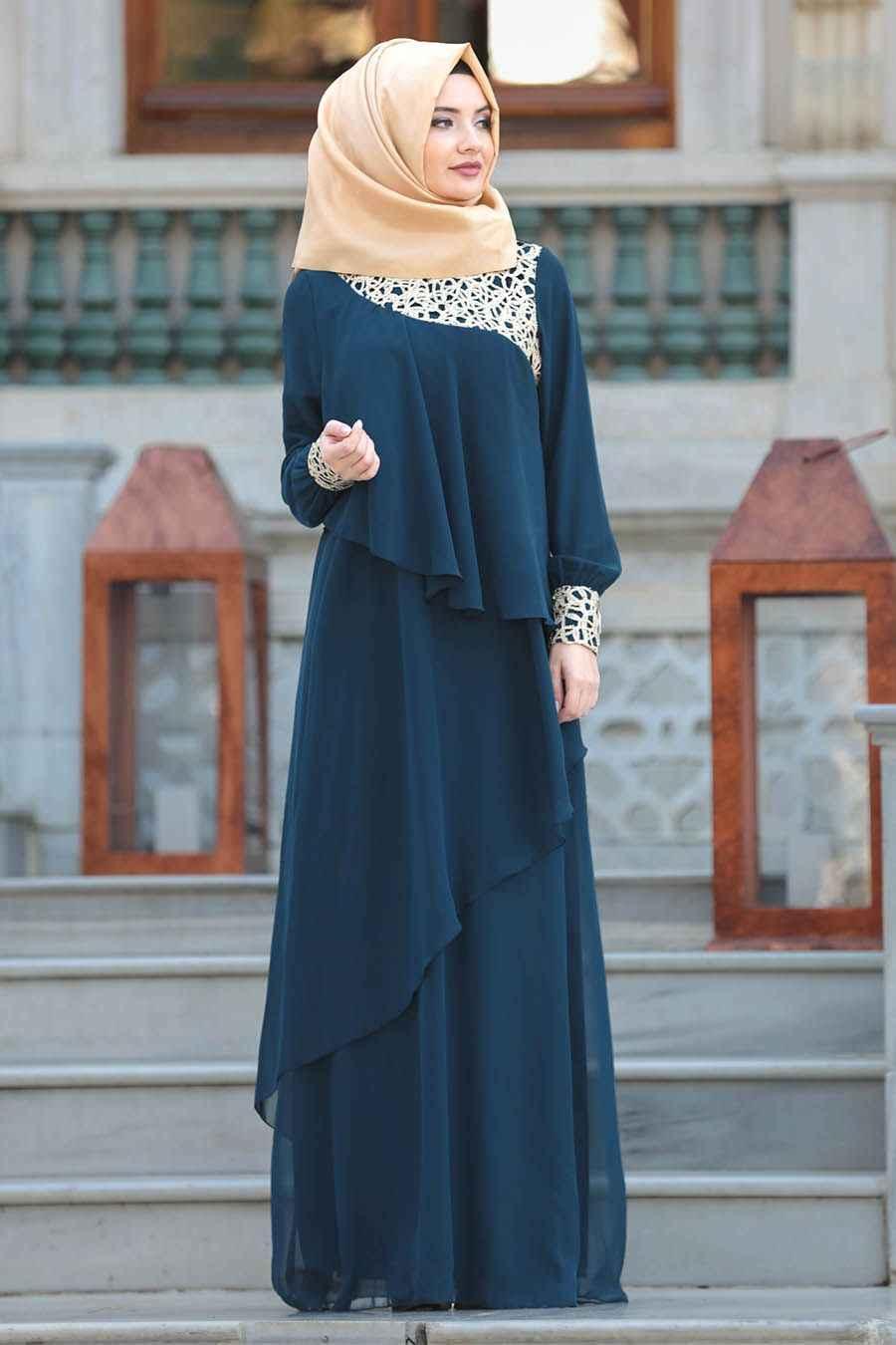 En Şık Neva Style Tesettür Elbise Modelleri