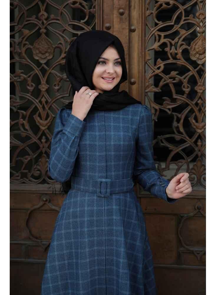 En Şık Pınar Şems Tesettür Ekose Elbise Modelleri