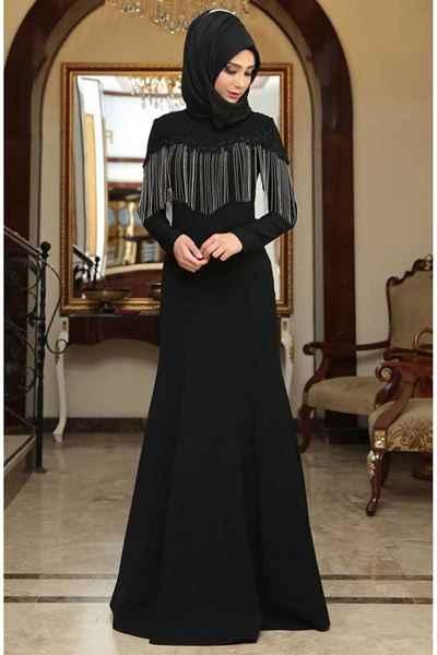En Şık Sedanur Tesettür Püsküllü Abiye Elbise Modelleri
