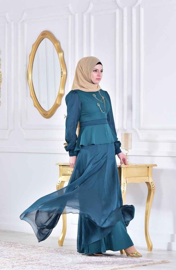 En Şık Sefamerve Broşlu Tesettür Abiye Elbise Modelleri