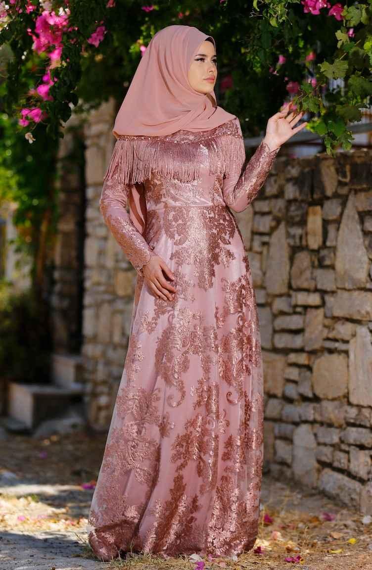 En Şık Sefamerve Tesettür Püsküllü Abiye Elbise Modelleri