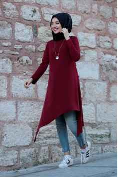 En Şık Tesettür Bordo Renk Tunik Modası