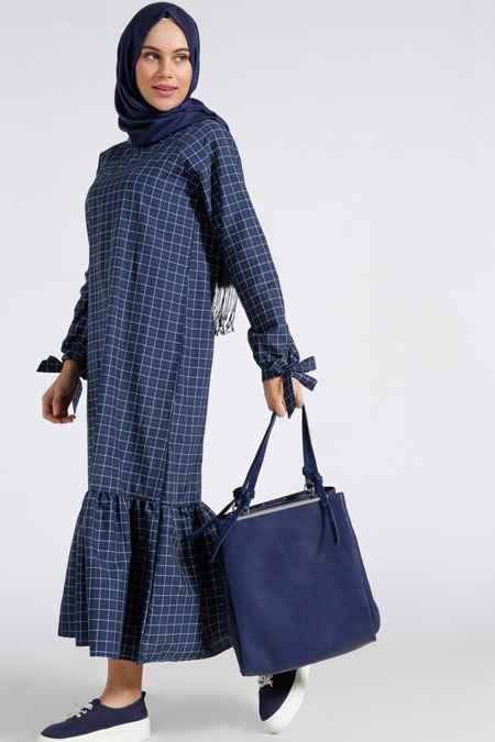 En Şık Tesettür Ekose Elbise Modelleri