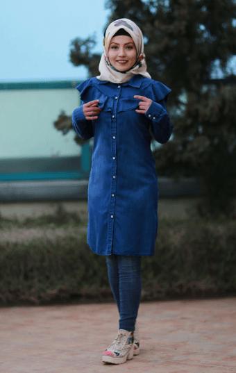 En Şık Tesettür Pazarı Kot Gömlek Modelleri