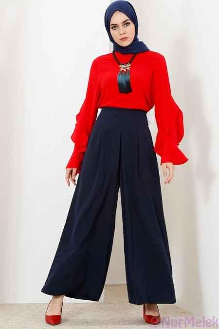 En Şık Yüksek Bel Tesettür Pantolon Modelleri