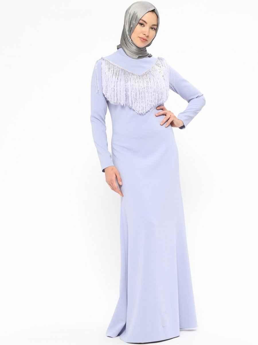 En Güzel Minel Aşk Tesettür Püsküllü Abiye Elbise Modelleri