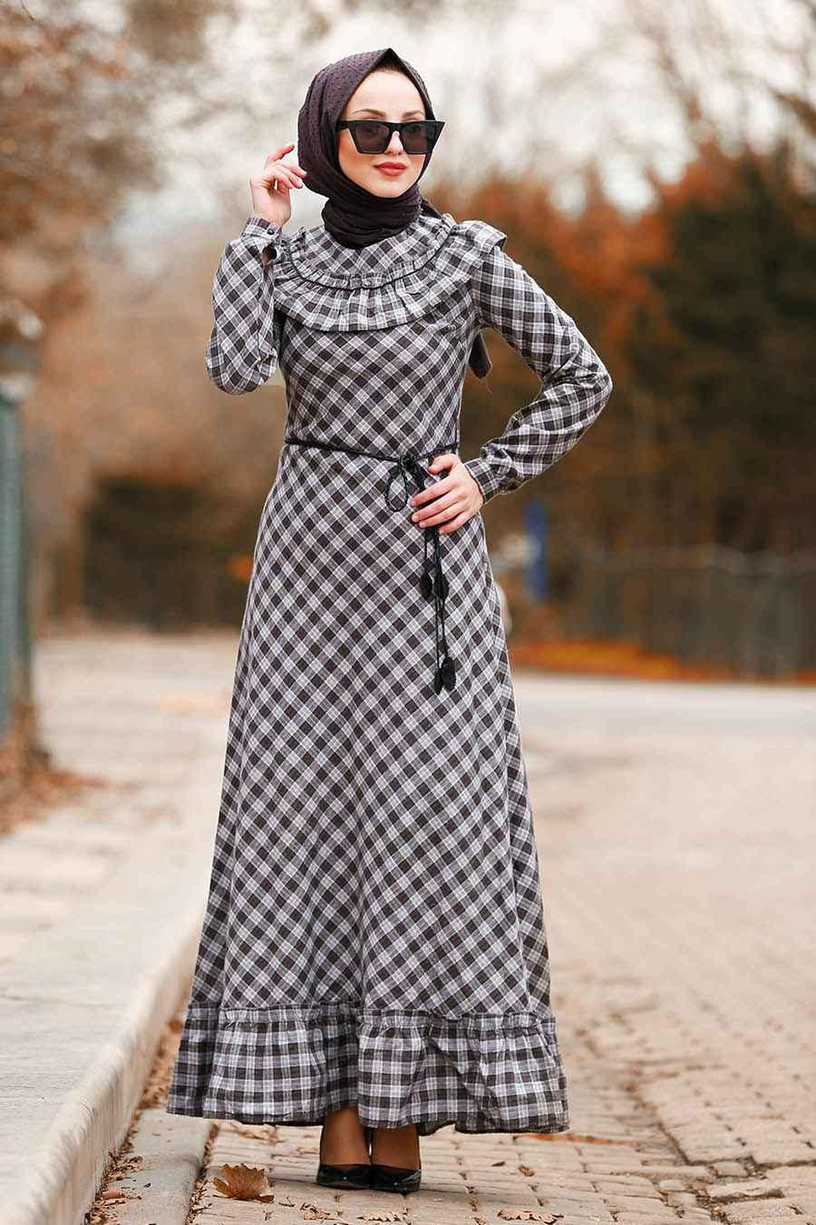 62a87a7da7420 En Güzel Nayla Collection Tesettür Ekose Elbise Modelleri
