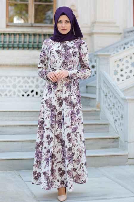En Güzel Neva Style Tesettür Çiçekli Elbise Modelleri