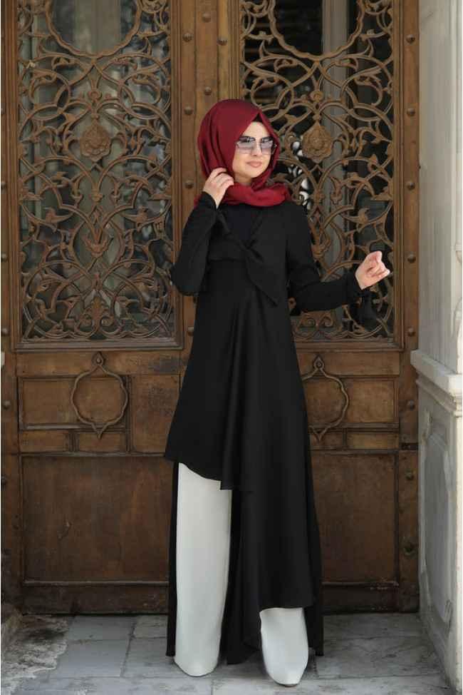 En Güzel Pınar Şems Özel Gün Tesettür Tunik Pantolon Kombinleri