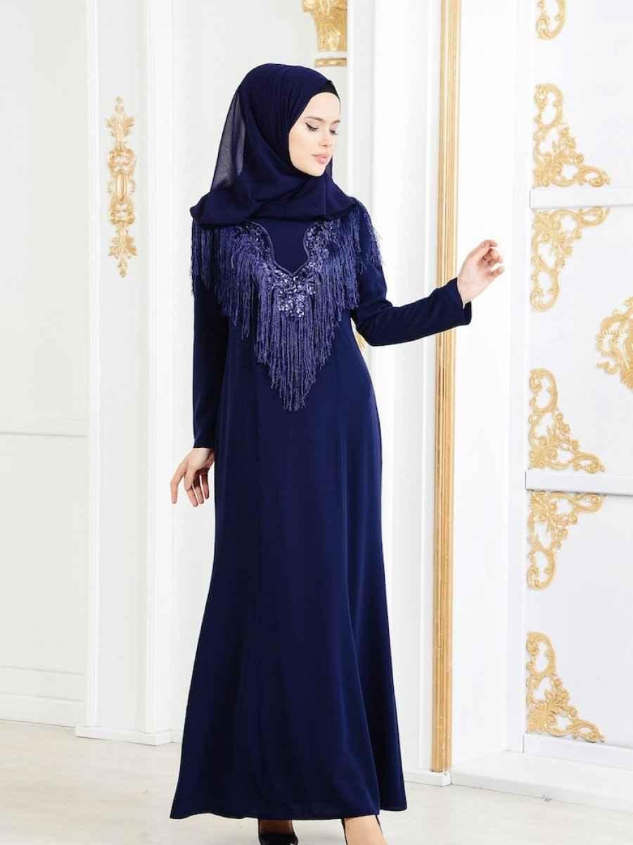 En Güzel Sefamerve Tesettür Püsküllü Abiye Elbise Modelleri