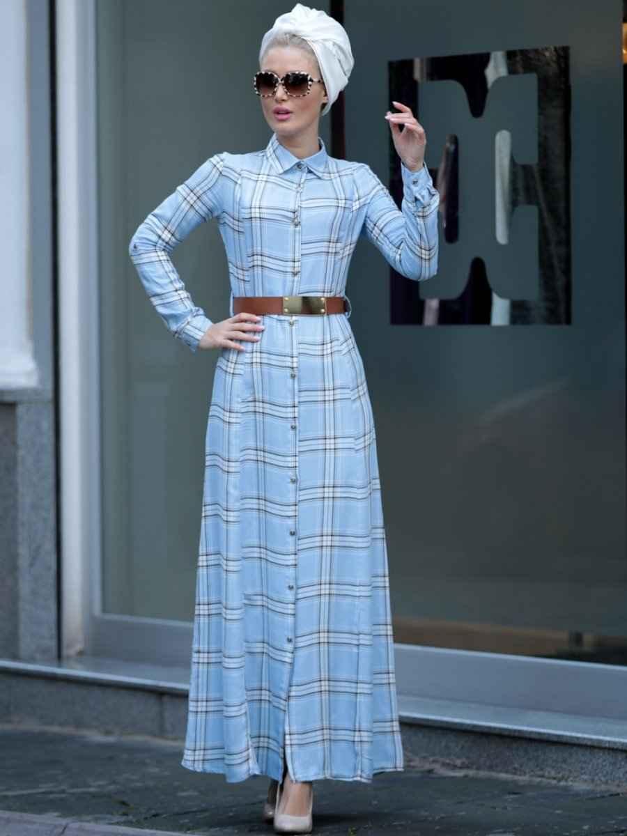 En Güzel Selma Sarı Desnign Tesettür Ekose Elbise Modelleri
