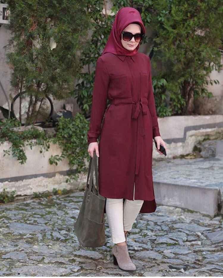 En Güzel Tesettür Bordo Renk Tunik Modası