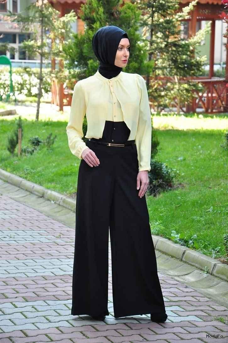 En Güzel Yüksek Bel Tesettür Pantolon Modelleri