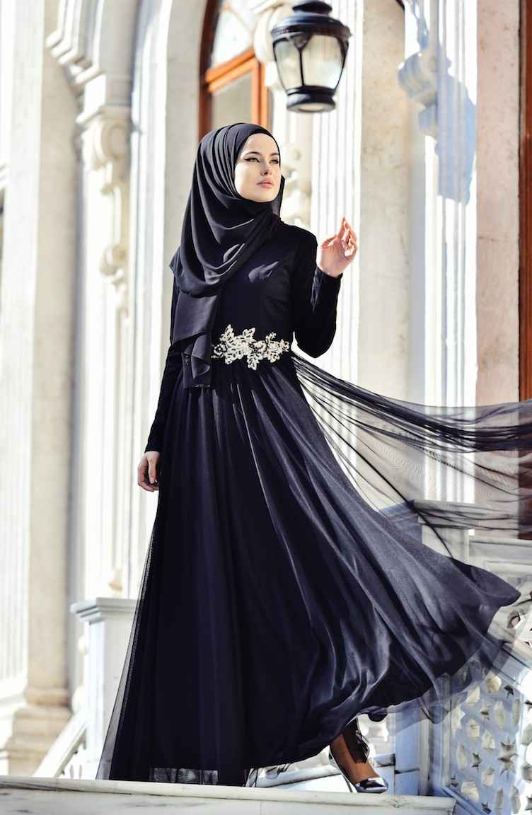Farunnisa Tesettür Tül Abiye Elbise Modelleri