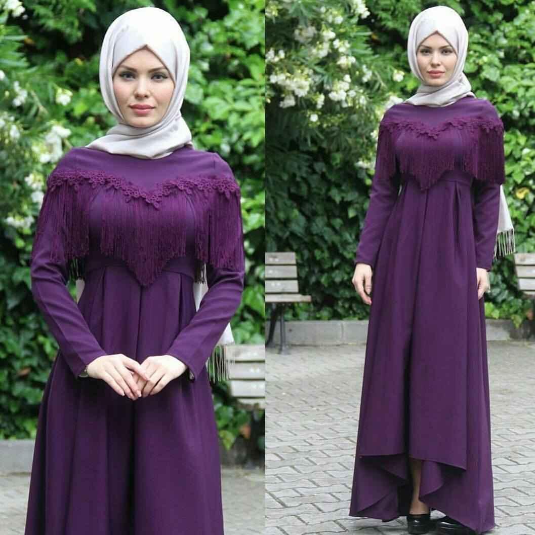 Majeste Püsküllü Tesettür Abiye Elbise Modelleri