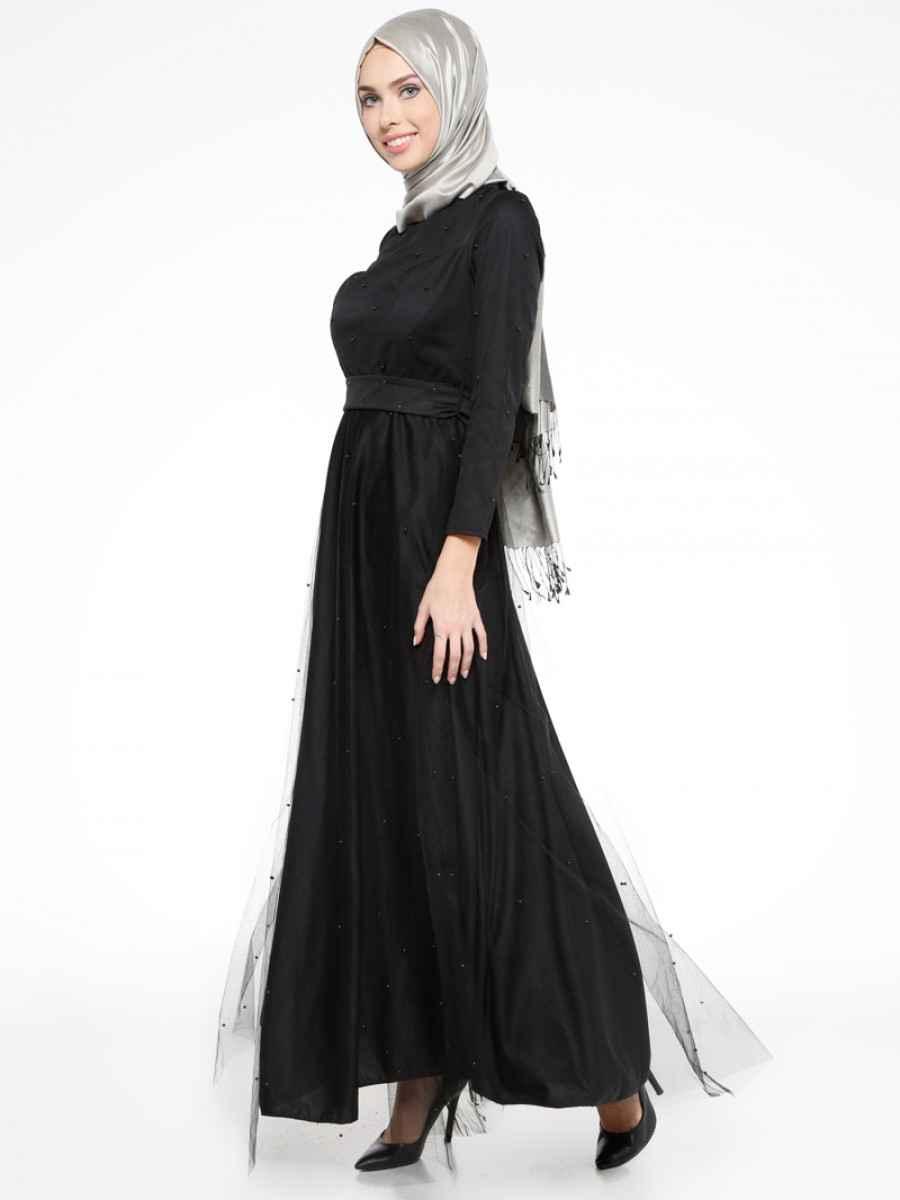 Mileny Tesettür Tüllü Abiye Elbise Modelleri