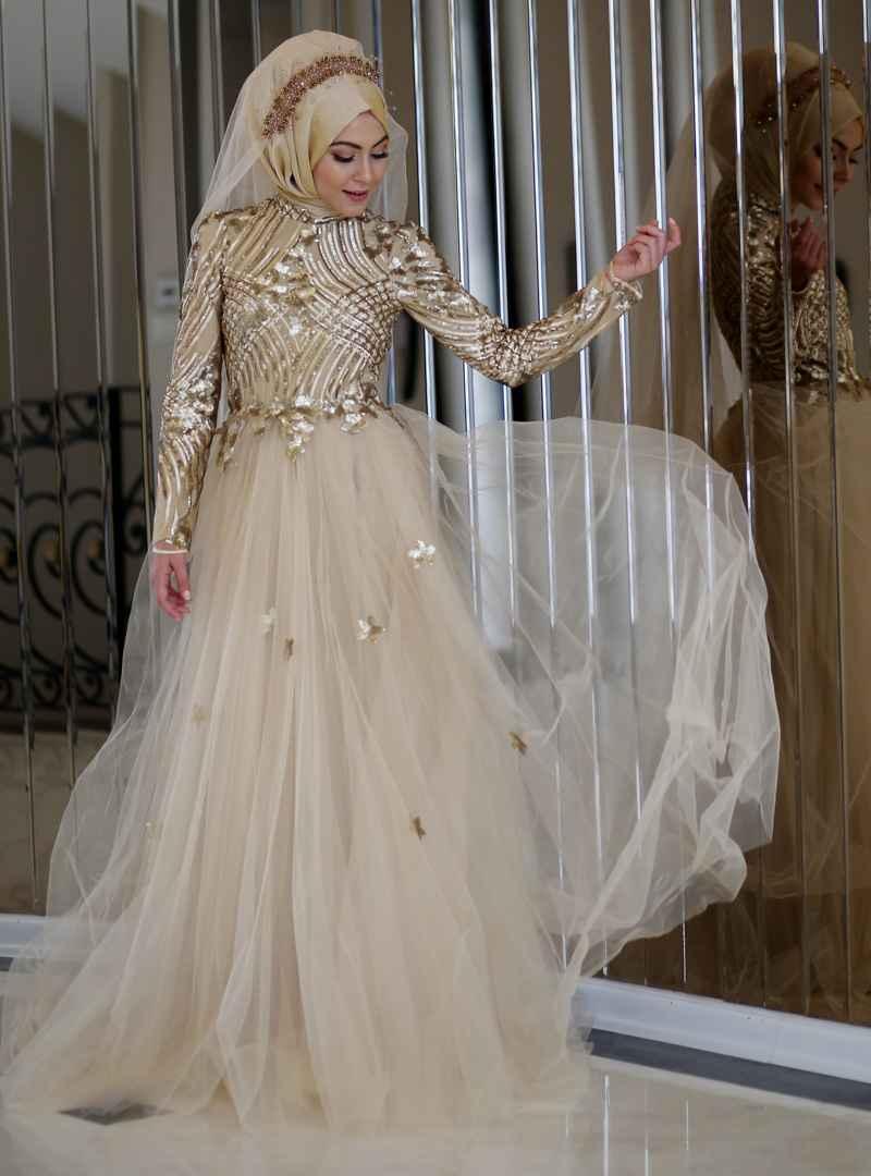Minel Aşk Tesettür Gold Dantelli Abiye Elbise Modelleri