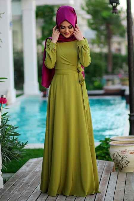 Minel Aşk Tesettür Haki Renk Elbise Modası