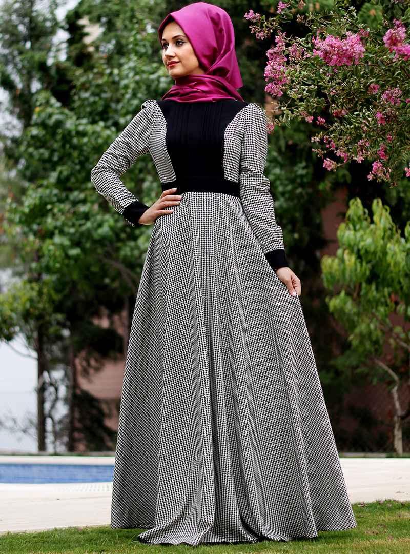 Minel Aşk Tesettür Kazayağı Desenli Elbise Modelleri