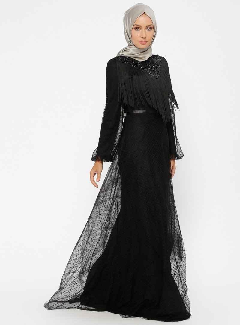 Minel Aşk Tesettür Uzun Püsküllü Abiye Elbise Modelleri