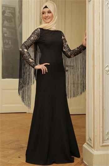 Mislinas Kolları Püsküllü Tesettür Abiye Elbise Modelleri