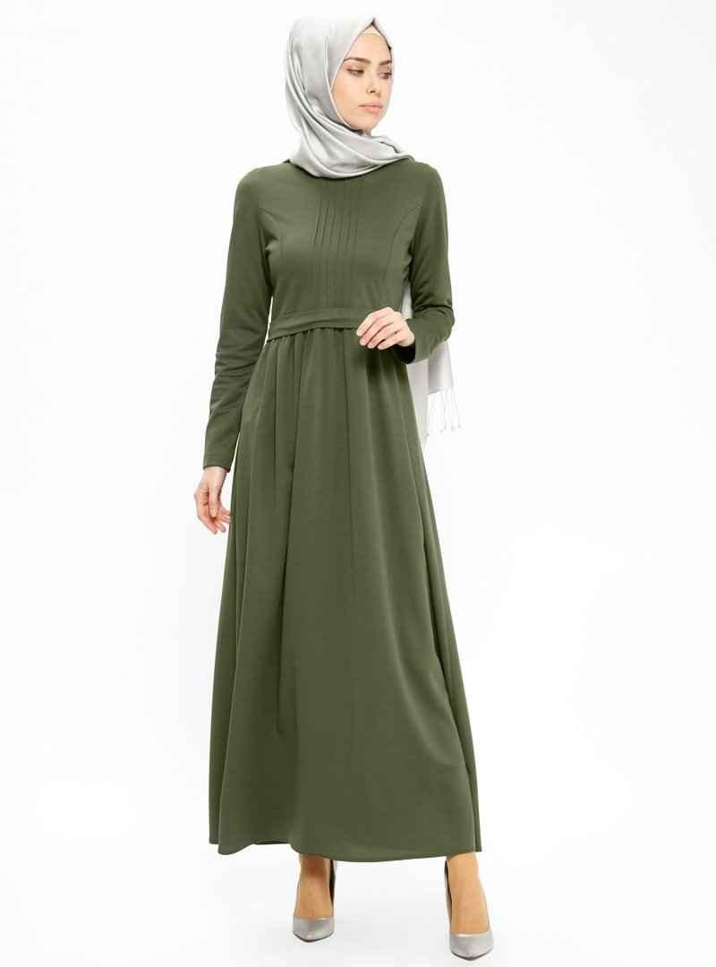 Miss Cazibe Tesettür Haki Renk Elbise Modelleri