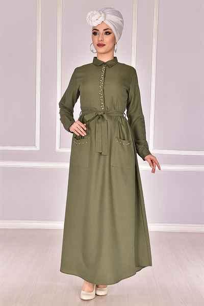 Modamerve İncili Tesettür Elbise Modelleri