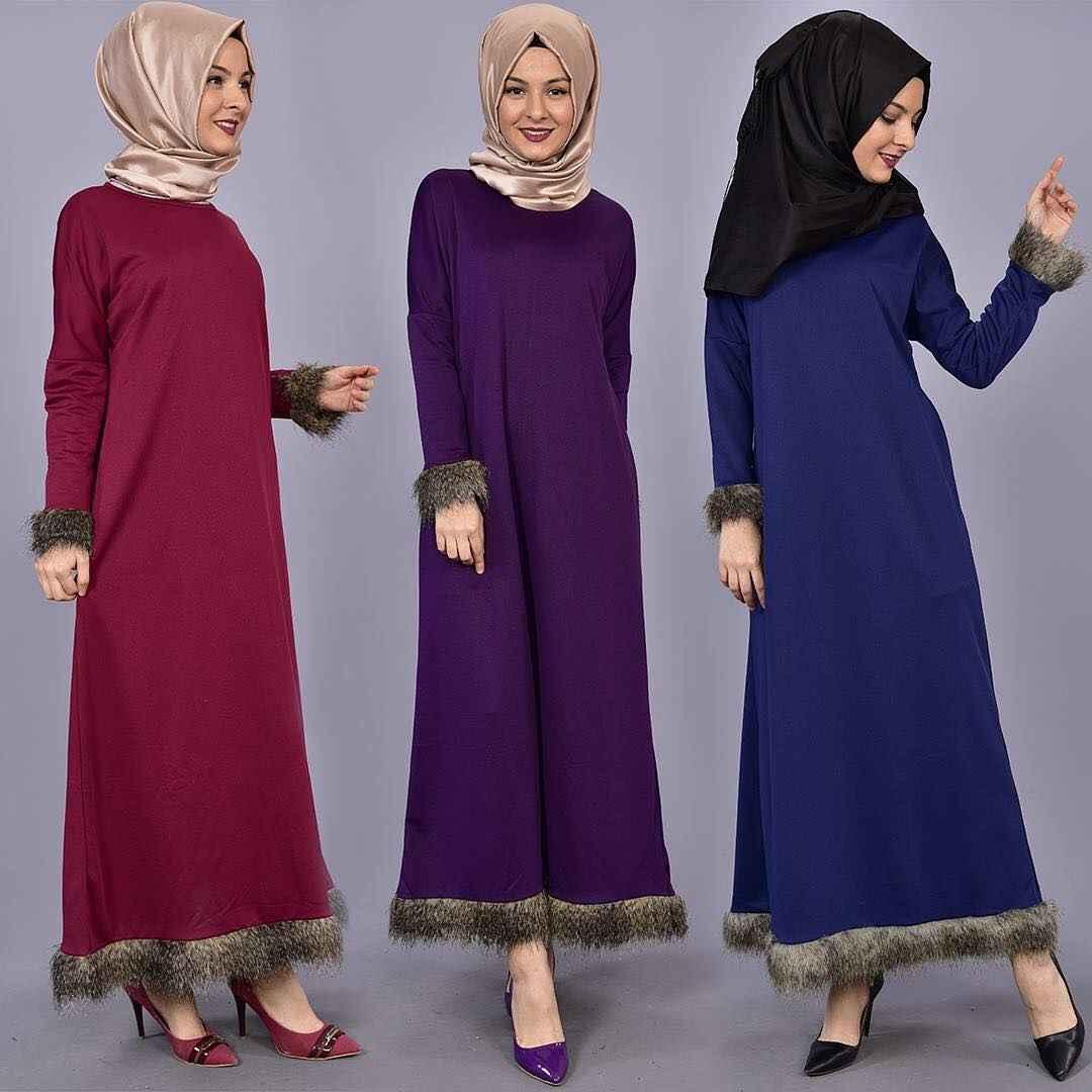 Modamerve Kürklü Tesettür Elbise Modelleri