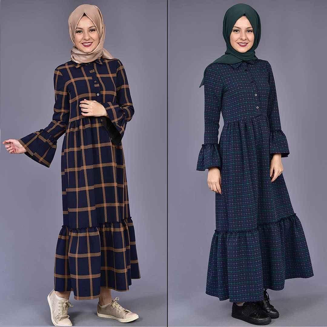 Modamerve Kol Fırfırlı Tesettür Ekose Elbise Modelleri